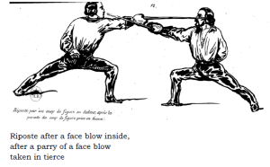 Leboucher Plate 11 - Riposte to Inside Face after Parry of Tierce vs blow to outside face